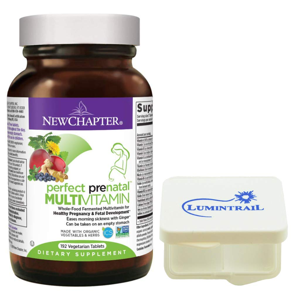 New Chapter Perfect Prenatal Vitamins, Womens Multivitamin, Eases Morning Sickness with Ginger - 192 Vegetarian Tablets Bundle with a Lumintrail Pill Case