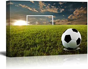 wall26 - Canvas Prints Wall Art - Close Up of Soccer Ball on an Open Field | Modern Wall Decor/Home Decoration Stretched Gallery Canvas Wrap Giclee Print. Ready to Hang - 16