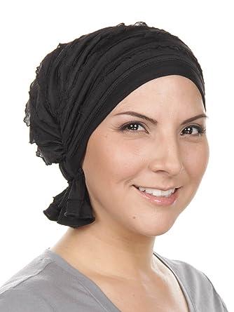 c03a2831067 Abbey Cap Womens Chemo Hat Beanie Scarf Turban Headwear for Cancer Ruffle  Black