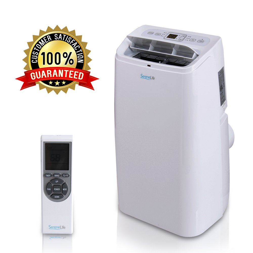 Portable Electric Air Conditioner Unit - 1150W 12000 BTU Power Plug-in AC Indoor Room Conditioning System w/ Cooler, Dehumidifier, Fan, Exhaust Hose, Window Seal, Wheels, Remote - SereneLife SLPAC12 Sound Around