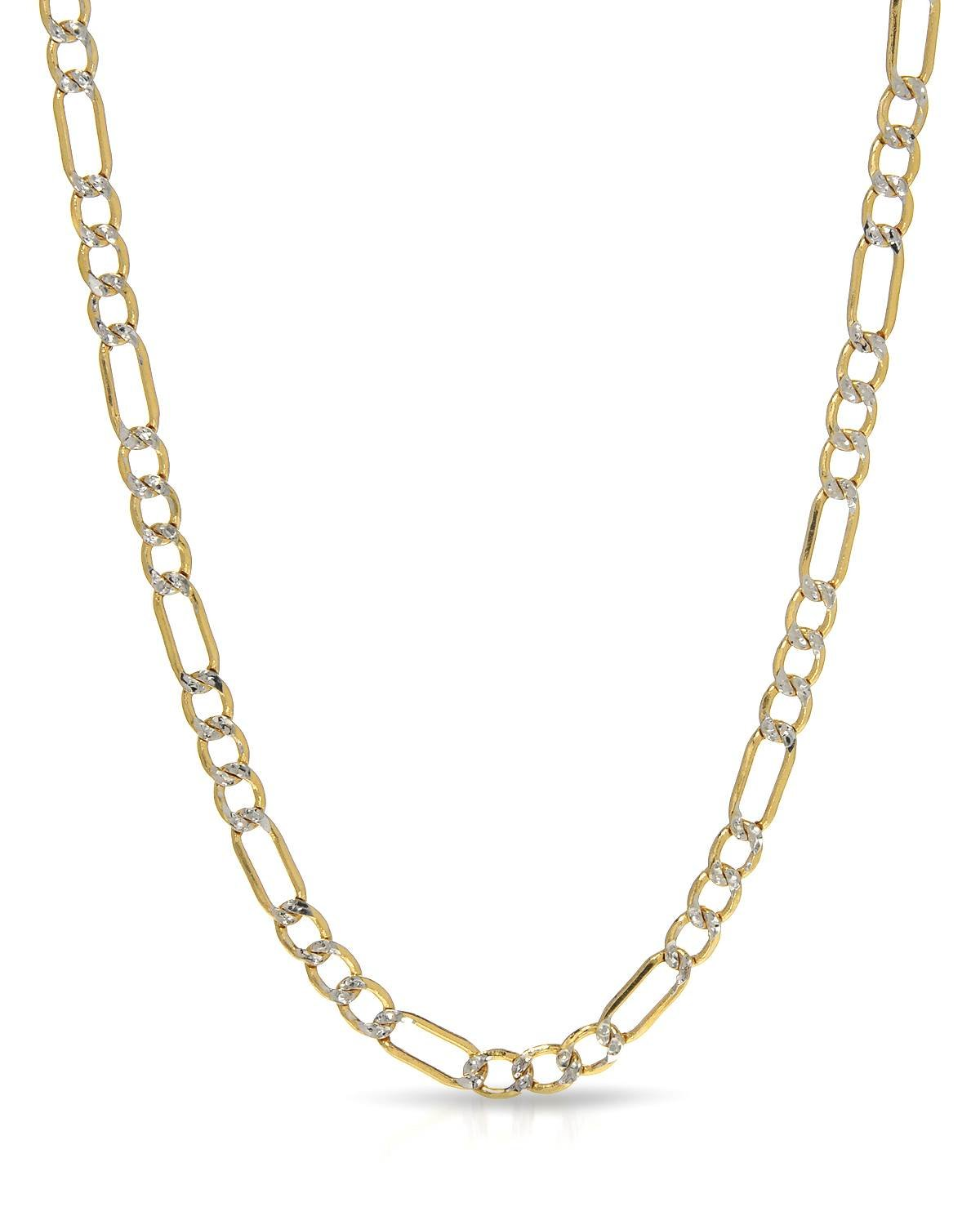 MCS Jewelry Real 10K Two Tone Yellow & White Gold Hollow Figaro Chain Necklace 3MM (18'')