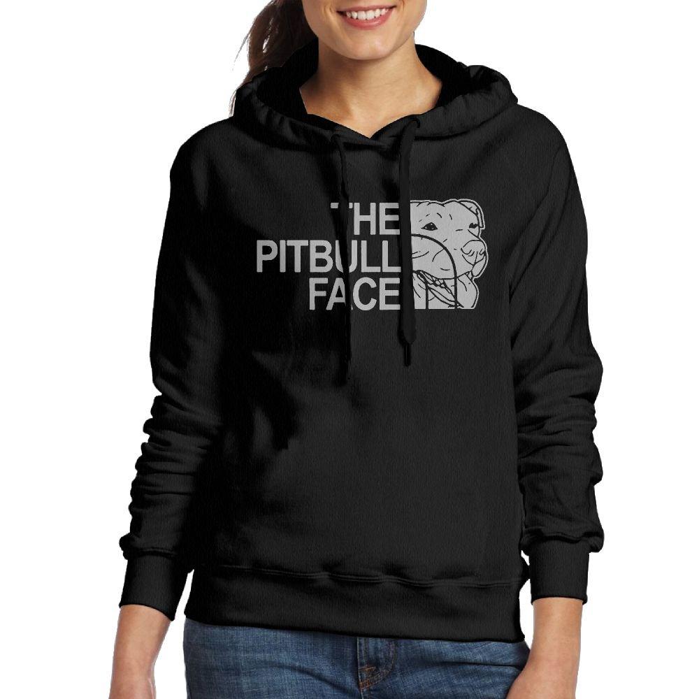 The Pitbull Face Woman Pullover Sweater Shirt Hooded Sweatshirt Black Medium