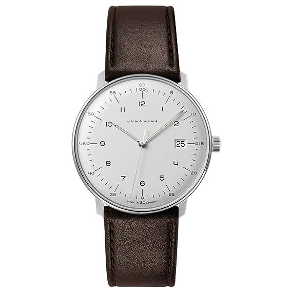 Junghans - Reloj de Cuarzo para Hombre, Acero Inoxidable y Cuero, Color marrón (