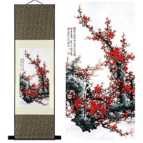 UNIQUELOVER Wall Art - Chinese Landscape Ink Painting Home Decoration Paintings and Hanging Art, Wall Scroll, Print Painting, Red Plum Blossom Flower Painting - Painting Scroll Wall Hanging Flower