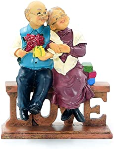 DreamsEden Loving Elderly Couple Figurines, Resin Wedding Anniversary Statues Home Decoration with Gift Card, Colorful (Love)