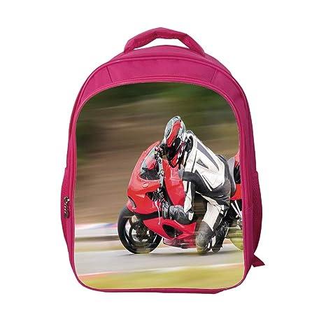 f5492b2a1910 iPrint School Bags Kid's Backpacks Custom,Teen Room Decor,Racing Motorcycle  Athlete in Speed