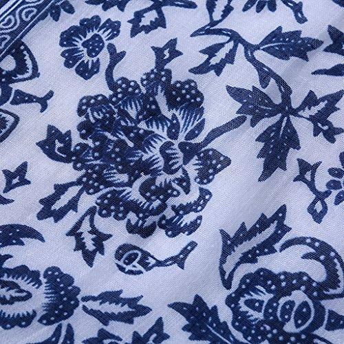 Soft Scarf and Exquisite Print Blue Beach Pretty Porcelain Tassel White Wrap Shawl Dabixx Long Summer qPUw1PH