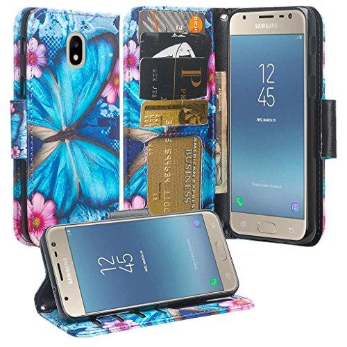 - Galaxy J7 Crown/J7 Star/ J7 Refine/ J7 2018 / J7v 2nd Gen 2018 Case, Cute Leather Wallet Phone Case Cover [Kickstand] Girl Women for Galaxy J737V,J737T - Blue Butterfly