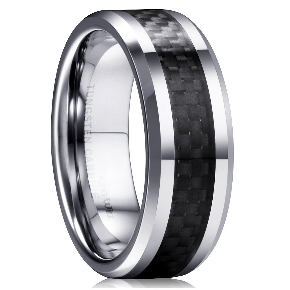 King Will GENTLEMAN Men's Black Tungsten Carbide 8mm Carbon Fiber Inlay Comfort Fit Wedding Band Ring 10