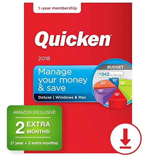 Quicken Deluxe 2018 – 14-Month Personal Finance & Budgeting Software  [PC/Mac Download] – Amazon Exclusive (Old Version)