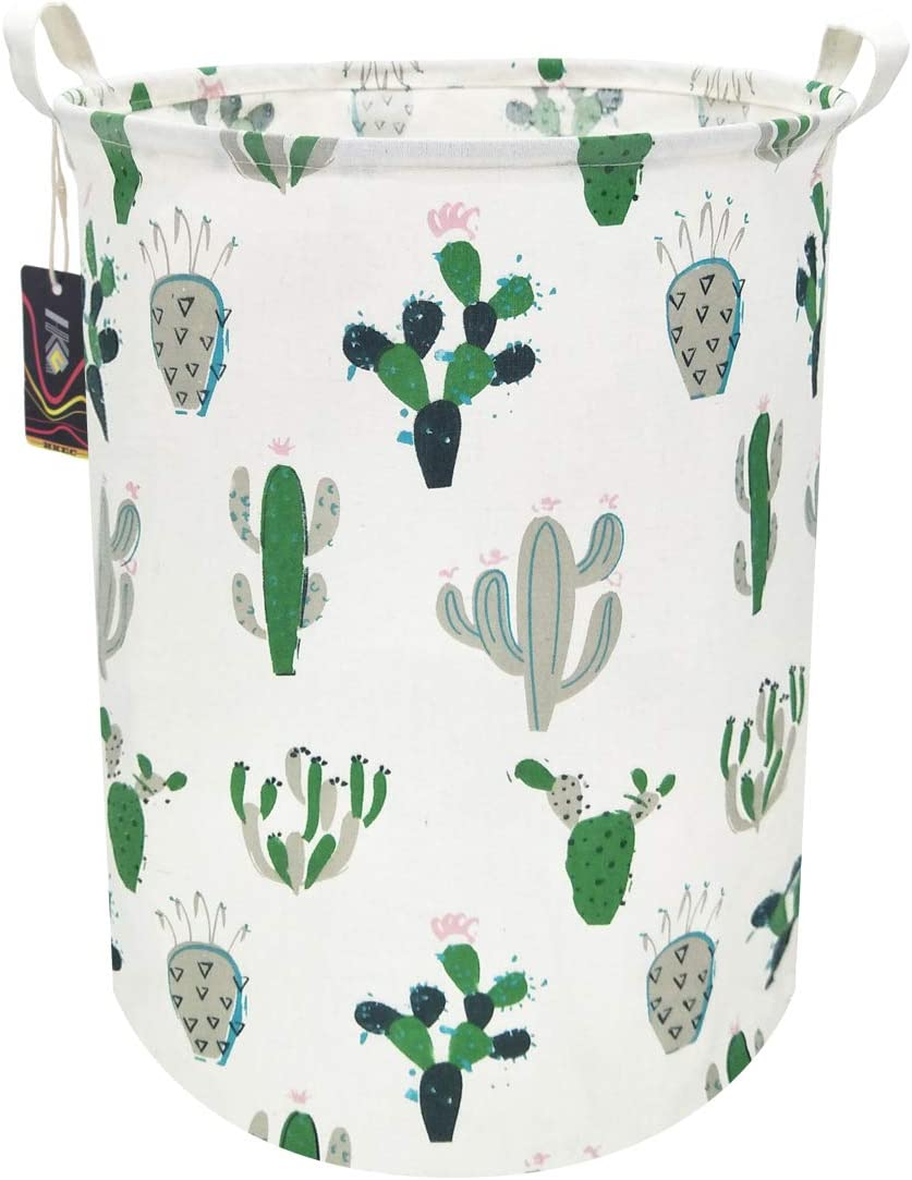 HKEC 19.7'' Waterproof Foldable Storage Bin, Dirty Clothes Laundry Basket, Canvas Organizer Basket for Laundry Hamper, Toy Bins, Gift Baskets, Bedroom, Clothes, Baby Hamper(Green and Gray Cactus)