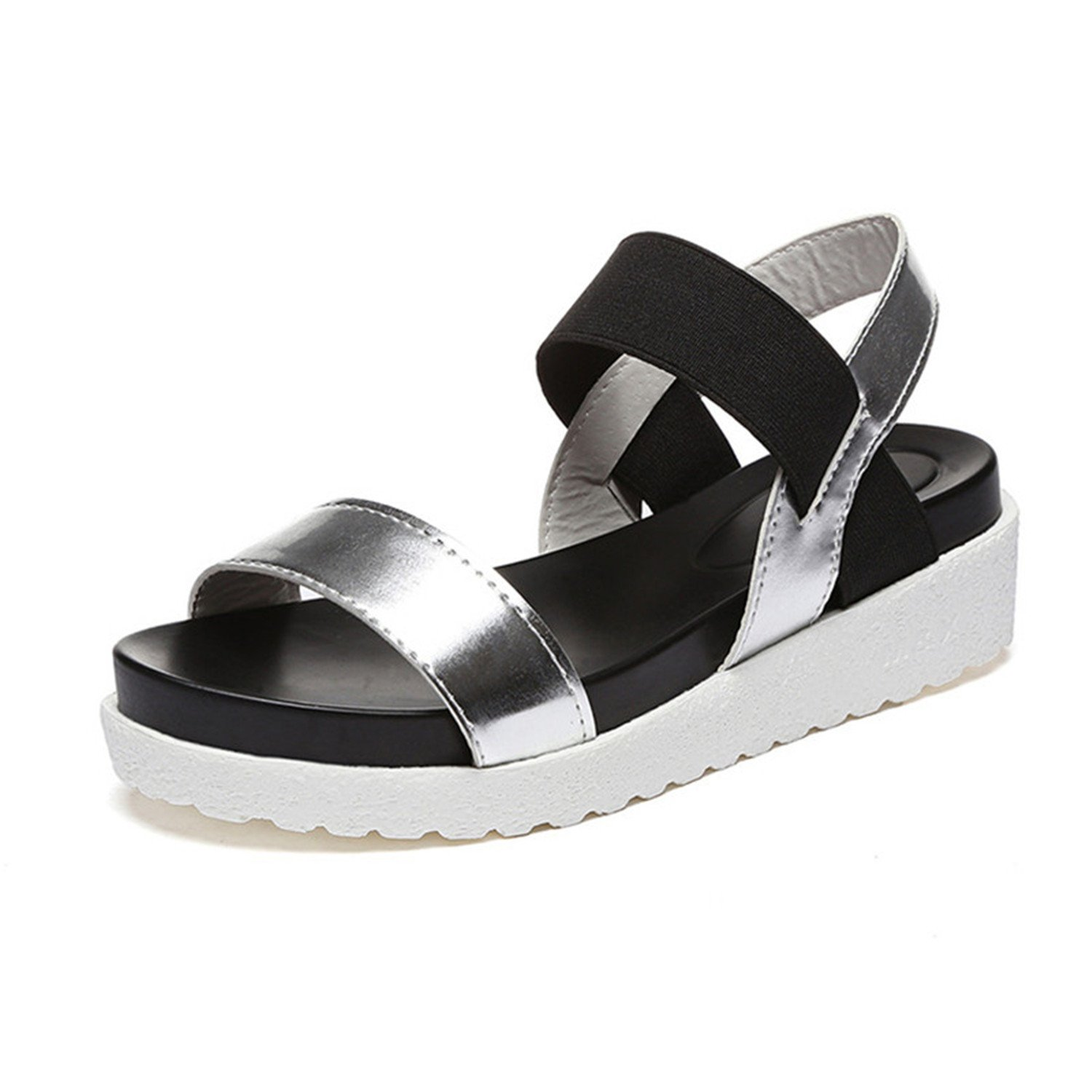 Aworth Spring Summer Women Sandals Female Robe Thick Platform Buckle with Roman Light Black Sandals Shoes .HYKL-810 B07C76PYNY 7.5 B(M) US|Gray