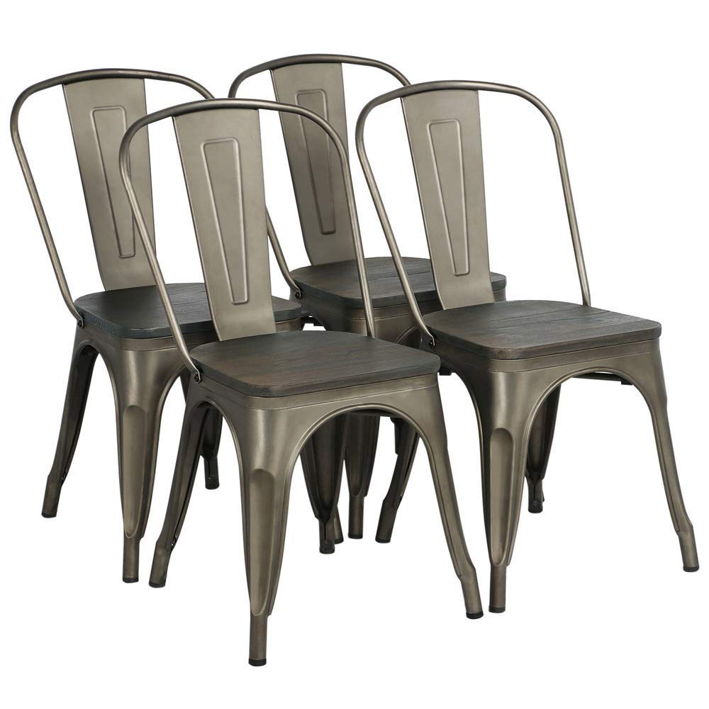 Yaheetech Metal Dining Chairs with Wood Seat Top Stackable Side Chairs Kitchen Chairs with Back Indoor-Outdoor Classic Chic Industrial Vintage Bistro Caf Trattoria Kitchen Gun Metal, Set of 4