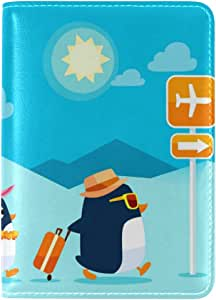 ALAZA Hipster Penguin Summer Leather Passport Holder Cover Case Travel One Pocket