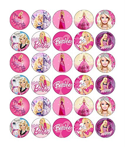 30 x Edible Cupcake Toppers - Barbie Themed Collection of Edible Cake Decorations for Girls  Uncut Edible Prints on Wafer -