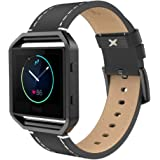"""Fitbit Blaze Band with Frame (6.7""""-8.1""""), Simpeak Genuine Leather Replacement Wristband Strap for Fit Bit Blaze Men Women-Black Band with Black Frame"""
