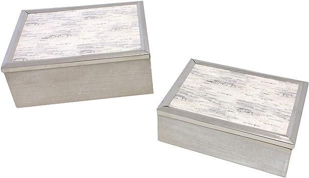 Conjunto de 2 cajas de madera 24,5x19,5x9,2cm blanco/gris/natural Cajas de almacenamiento de aspecto lamentable cajas de decoración: Amazon.es: Bricolaje y herramientas