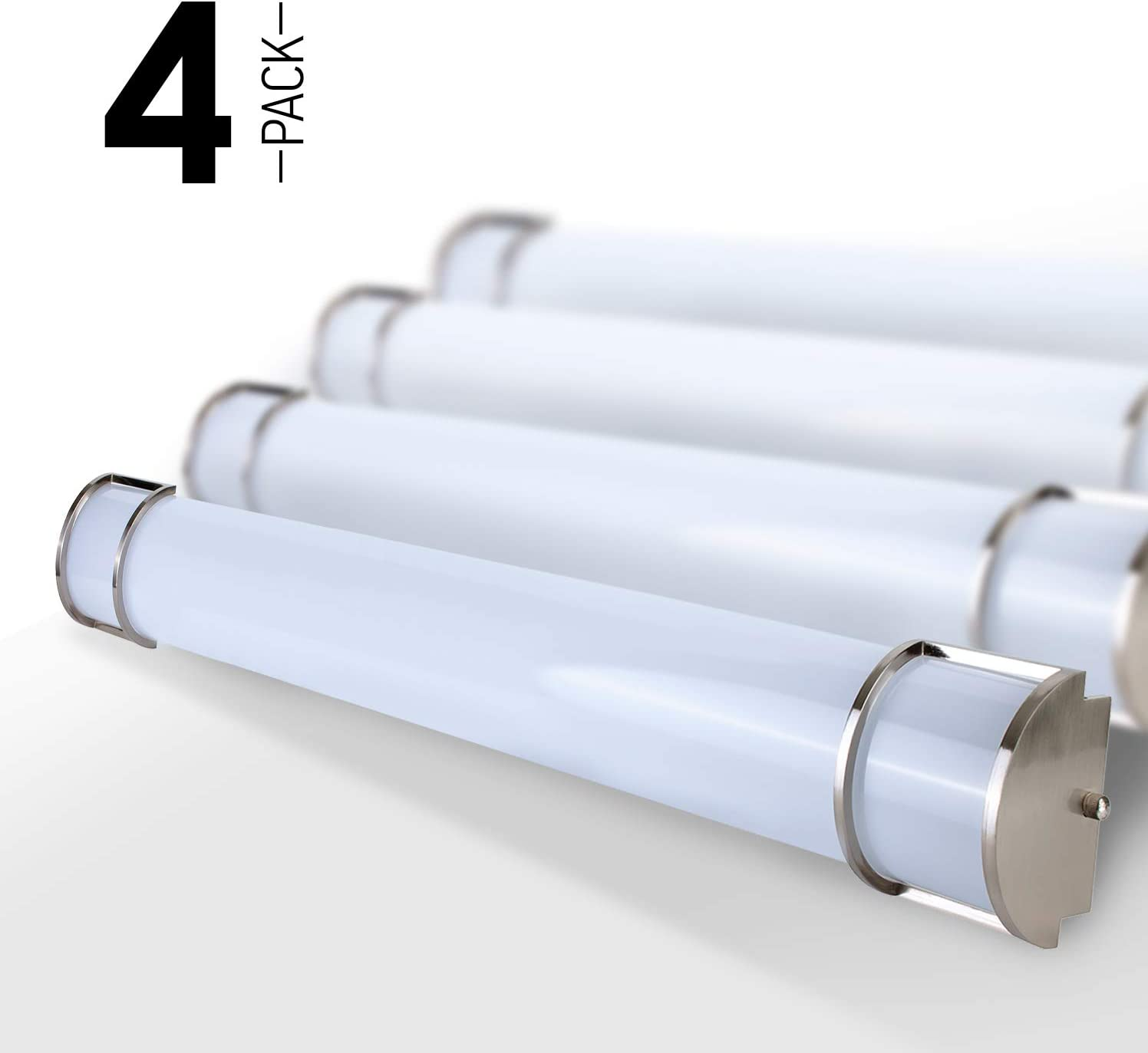 OSTWIN 48 4 Pack Vanity Light Fixture Brushed Nickel, Led Vanity Lighting 35W 5000K Daylight, Large Size, Vertical or Horizontal Tube, Brushed Nickel Finish, ETL Energy Star Listed