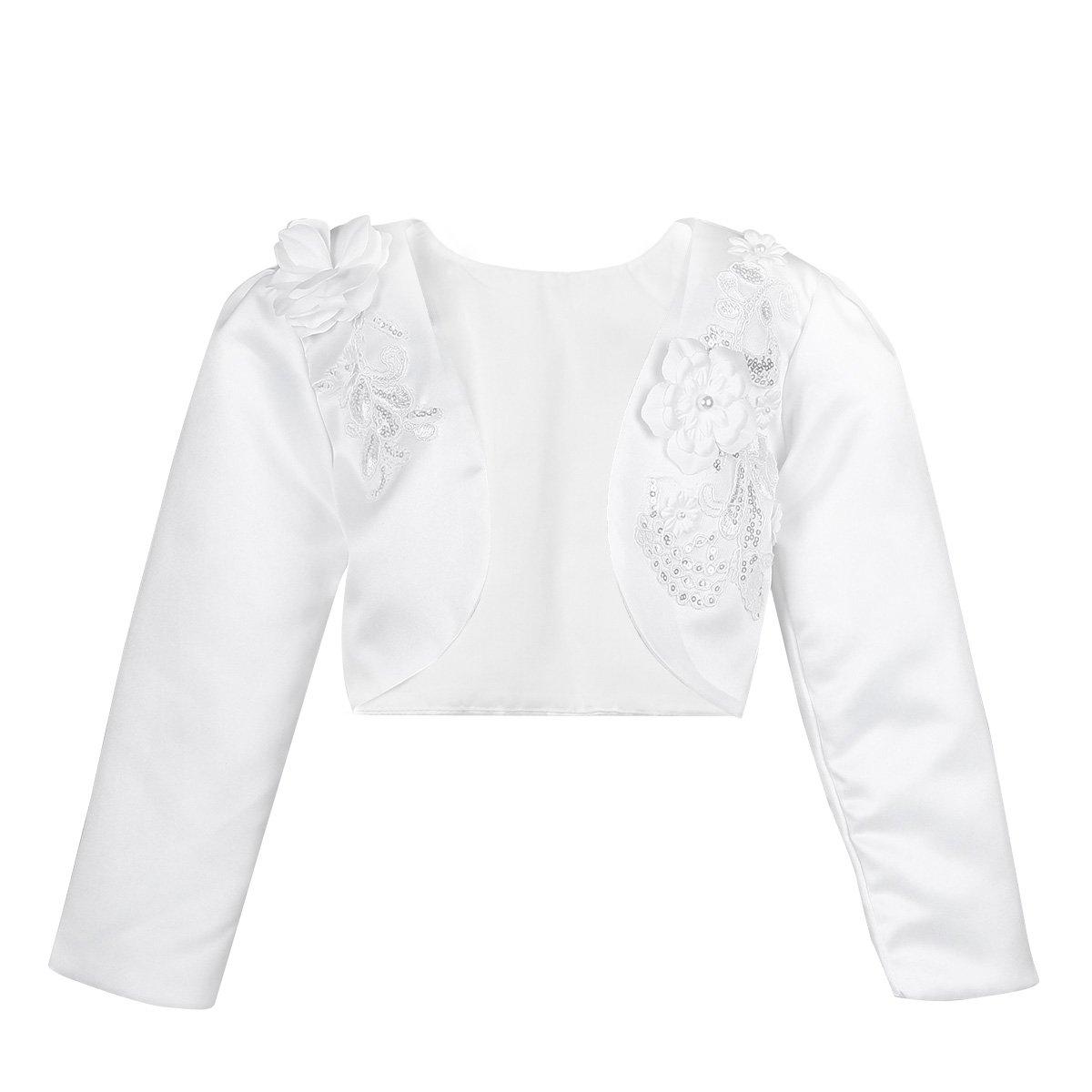 YiZYiF Little Girls Embroidered Wedding Bridesmaid Bolero Cardigan Shrug