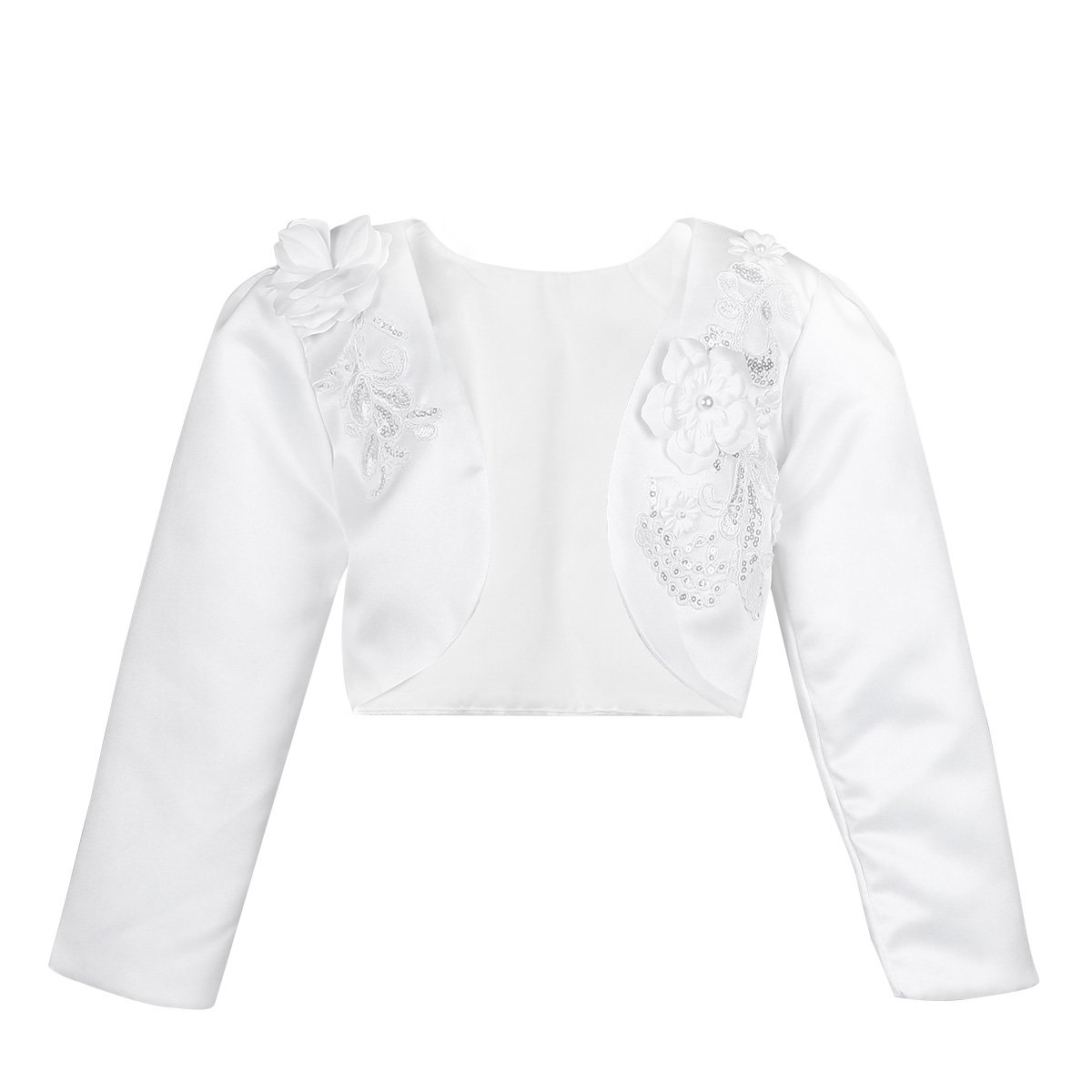 FEESHOW Kids Girls Long Sleeve Satin Bolero Shrug Jacket Short Cardigan Wedding Flower Girl Dress Cover up Sequin White 5-6