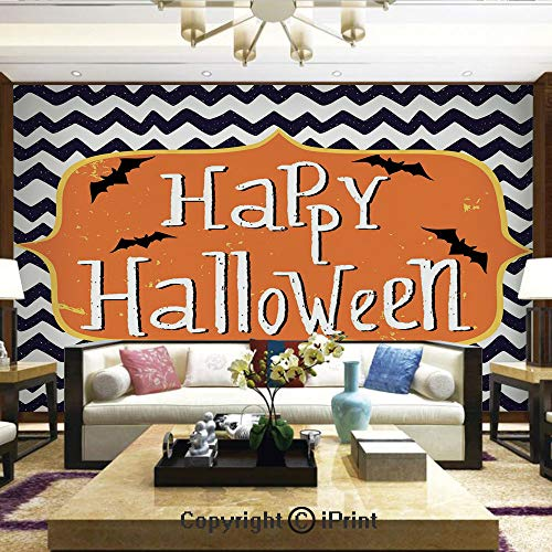 - Lionpapa_mural Wall Decoration Designs for Bedroom,Kitchen,Self-AdhesiveCute Halloween Greeting Card Inspired Design Celebration Doodle Chevron Decorative,Home Decor - 100x144 inches