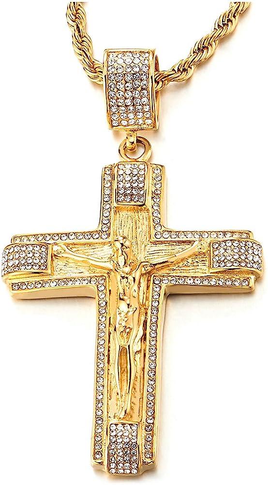 COOLSTEELANDBEYOND Grande Oro Colgante de Jesucristo Crucifijo Cruz con Zirconia Cúbica, Collar de Hombre Mujer, Acero Inoxidable, Cadena Cuerda 75CM