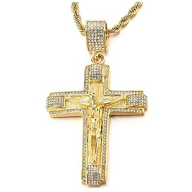Gesù Pendente Cristo Con Oro Coolsteelandbeyond Collana Grande Wqv44a