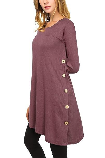 Djt Women S Long Sleeve Scoop Neck Button Side Tunic Dress Top