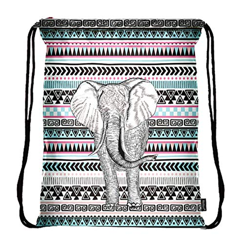 Meffort Inc Lightweight Drawstring Bag Sport Gym Sack Bag Backpack with Side Pocket - Elephant Design