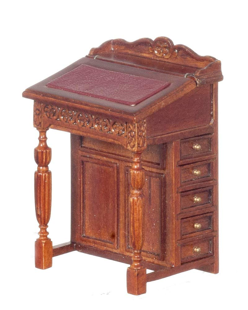 Dollhouse Miniature 18th Century Davenport Desk, Walnut Finish #JJ05038WN by JBM Miniatures