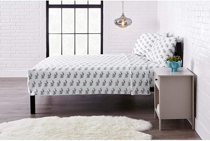 Amazon Com Stylewell Jersey Knit Cotton Blend Full Sheet Set In Elephant Kitchen Dining
