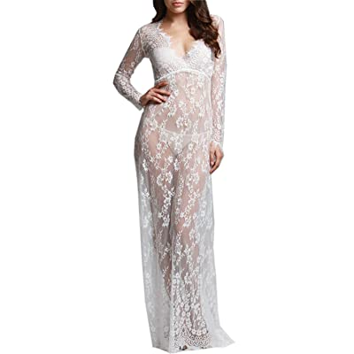 ZIUMUDY Sexy Deep V-Neck Long Sleeve Lace Beach See-Through Maternity Maxi Dress at Women's Clothing store
