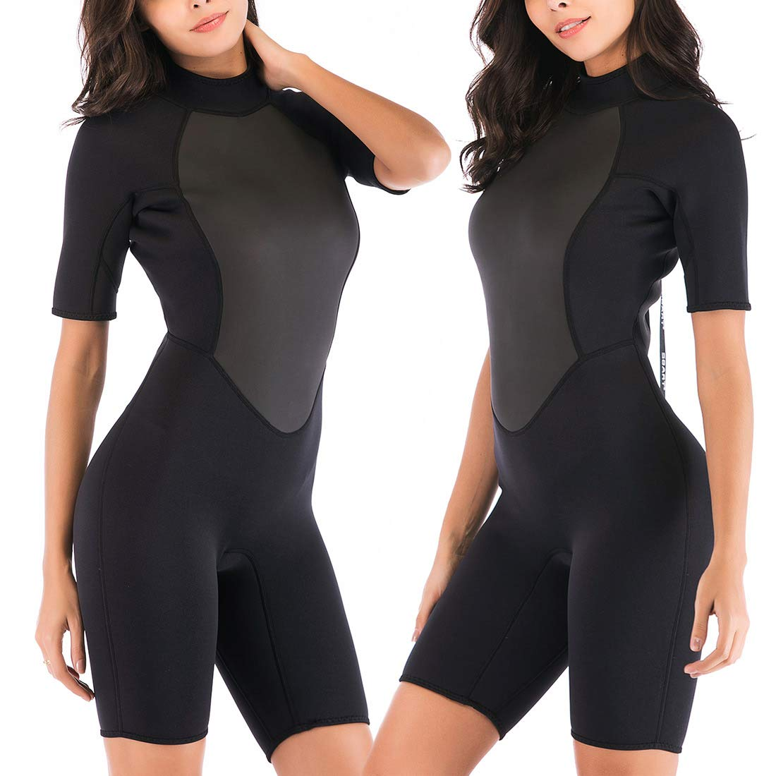 Sbart Womens 2mm Neoprene Shorty Wetsuit Thermal Warm Swimsuit Diving Suit