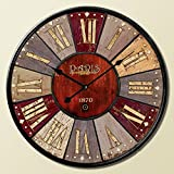 Buggy Round Decorative Wall Clock-Shabby Chic Floral Patchwork Clock - Vintage Wall Clocks for Living Room, Bedroom and Kitchen - Multi-Coloured Cute Retro Style Clock Wall 24inches 58cm Yellow