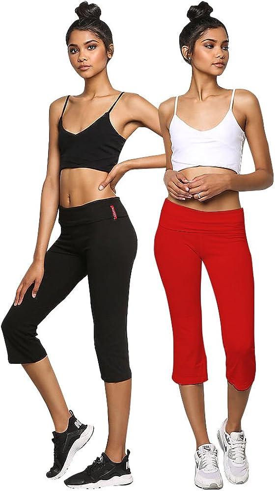 Emmalise Womens Fold Over Low Rise Cotton Blend Yoga Capri Pants