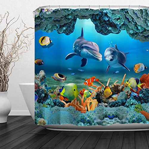 ALFALFA Home Bathroom Decorative Polyester Fabric Sea Dolphins Animals Theme Shower Curtain with Hooks, Waterproof, Mildew Resistant 72