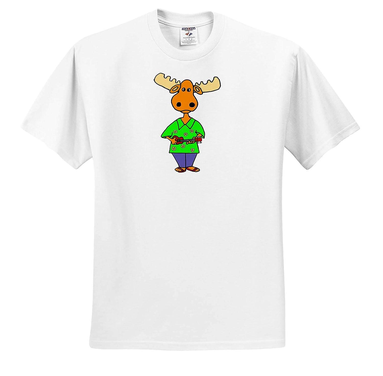 Adult T-Shirt XL ts/_315269 Funny Cute Moose Playing Ukulele Music Cartoon Music 3dRose All Smiles Art
