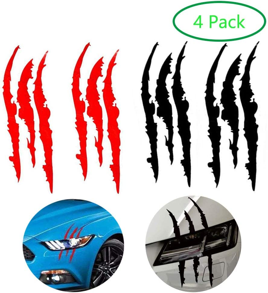 AMOUTOR 4PCS Claw Marks Decal Reflective Sticker, Waterproof Headlight Decal Fit for All The car Models (Red and Black)