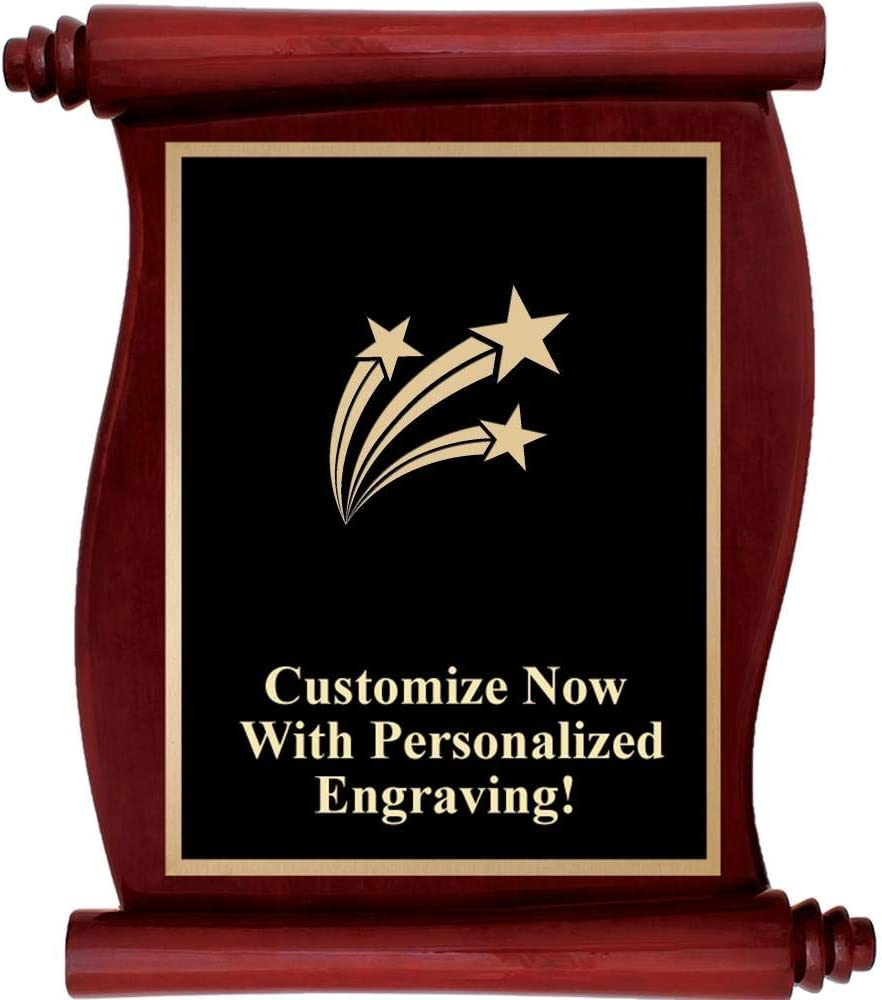Custom Engraved Rosewood Scroll Plaques Personalized Plaque Award with Up to 5 Lines of Engraving Included