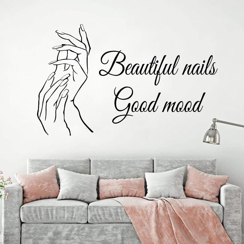Hechuyue Beautiful Nails Good Mood Wall Stickers Nail Salon Nails Nails Decals Nail Pedicure Beauty Salon Decoration 102x63cm Amazon Co Uk Kitchen Home