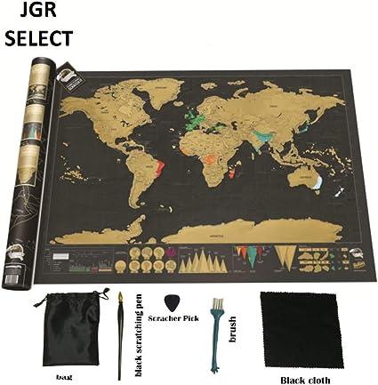 JGR SELECT Mapa Mundi Rascar - Mapamundi Extra grande, Color Negro y Dorado - Incluye Kit Rascador y Tubo de Regalo – Mapa de Rascar del Mundo Para Pared: Amazon.es: Oficina y papelería