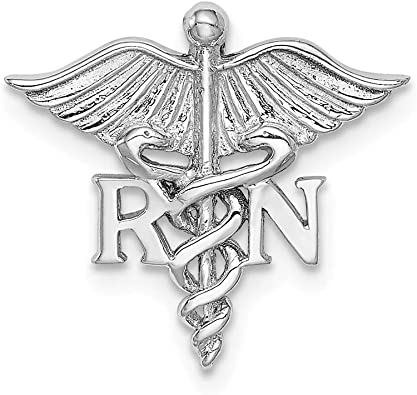 14k Yellow Gold Caduceus Angel Nursing Rn Registered Nurse Pendant Charm Necklace Career Professional Medical Fine Jewelry Gifts For Women For Her