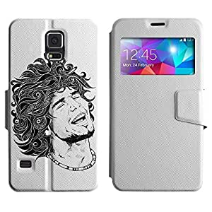 BONETI Diamond Folio Slim Leather Case Smart Cover with Built-in Stand & Window Function / Cool Tattoo Illustration / Samsung Galaxy S5