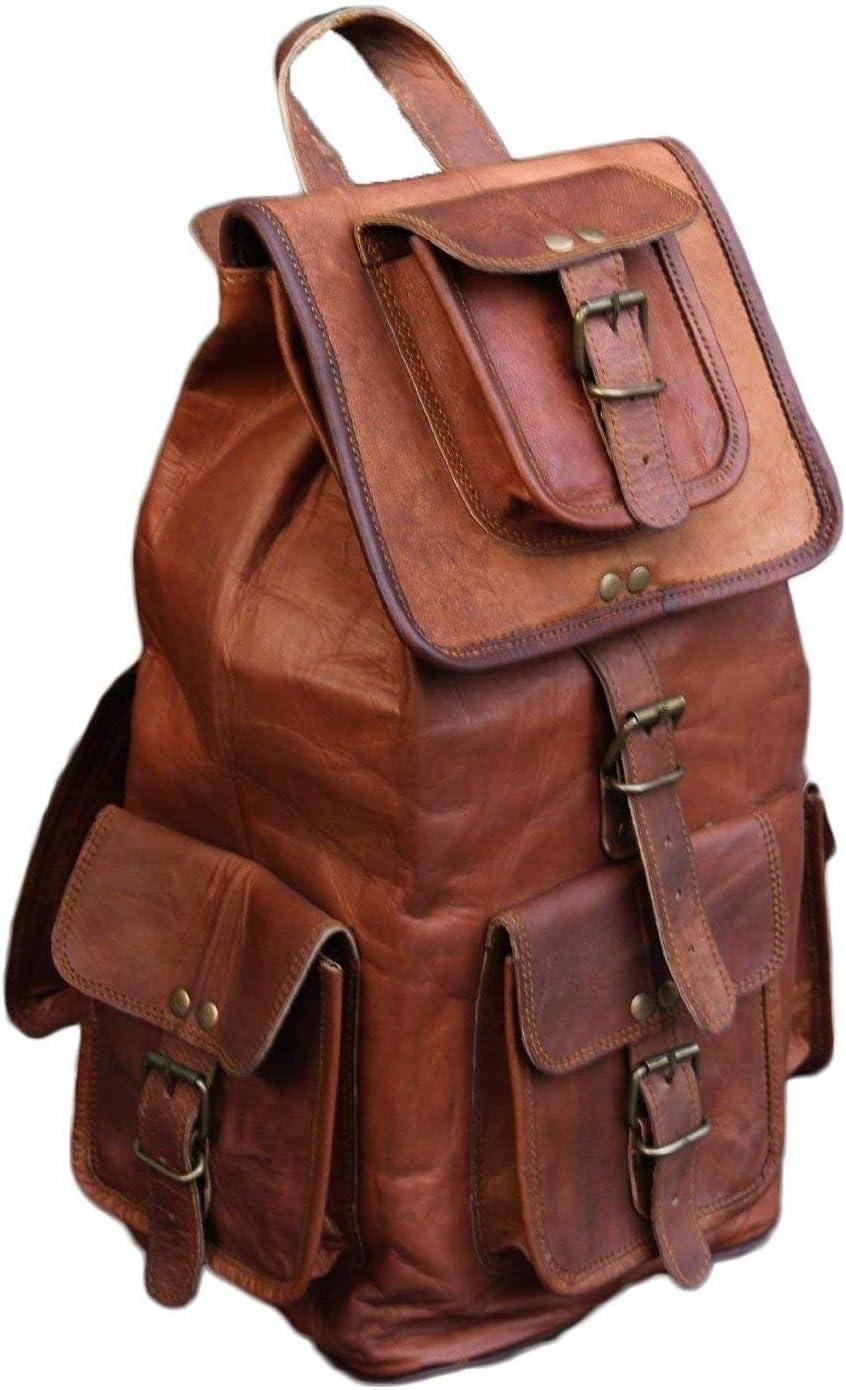 ANUENT Mochila de Piel auténtica Hecha a Mano con Bolsa de Viaje para Ordenador portátil, Color marrón Oscuro