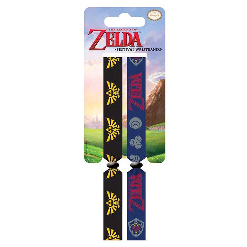 Unbekannt Zelda fwr68072The Legend of Zelda Triforce Logo und Hyrule Shield Doppeltes Festival Armband Set