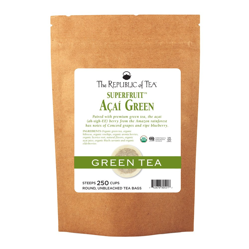 The Republic Of Tea Organic Acai Green Superfruit Tea, 250 Tea Bag Bulk, Premium Acai Berries Organic Green Tea