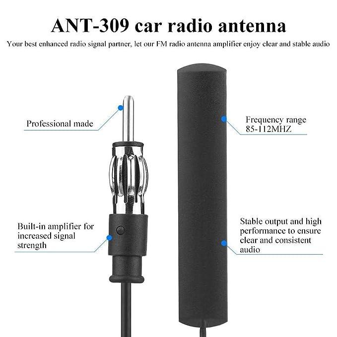 Parche Antena De Radio FM De Coche Universal Amplificador De Antena De Radio Negro Montaje De Parabrisas A/éreo 85-112Mhz 5M Cable Etase Antena De Radio De Coche Ant-309