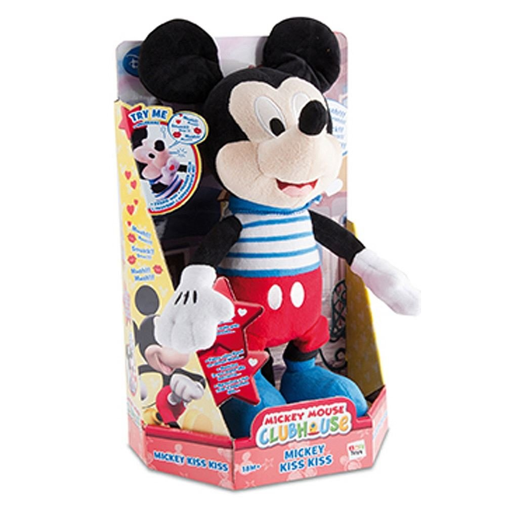 Amazon.com: Mickey Mouse Kiss Kiss Sound Plush Doll Peluche Interactive IMC Toys- 181496: Toys & Games