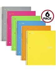 """Five Star Spiral Notebooks, 1 Subject, College Ruled Paper, 100 Sheets, 11"""" x 8-1/2"""", Assorted Colors, 6 Pack (38057)"""