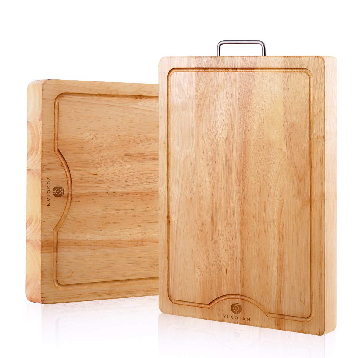 Wood Cutting board,Anti-Microbial,Quality Chopping Board(19.7x13.8inches)with Juice Groove and Stainless Steel Handle for Kitchen (Reversible design, Solid Wooden Design,Multipurpose uses)YUSOTAN. by YUSOTAN
